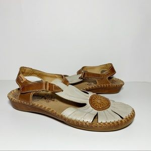 Pikolinos Cream & Tan Leather Ankle Strap Sandals